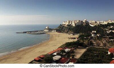 Aerial view of town of Sperlonga beach and Torre Truglia ...