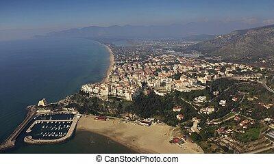 Aerial view of town of Sperlonga, Italy