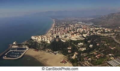 Aerial view of town of Sperlonga, Italy - Aerial view of...