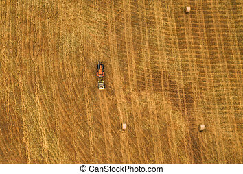 Aerial view of tractor making hay bale rolls in field after ...