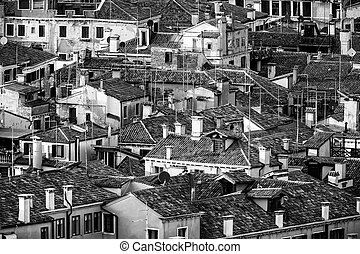 Aerial View of Traditional Buildings in Venice. Black and White