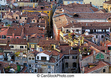Aerial View of Traditional Buildings in Venice