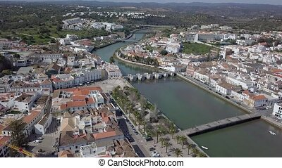 Aerial view of traditional portuguese town of Tavira,...