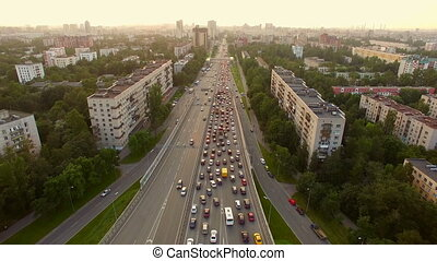 aerial view of traffic congestion in the city