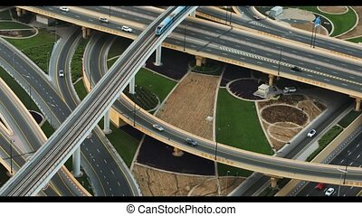 Aerial view of traffic in Dubai. 4K. - Aerial view of high...