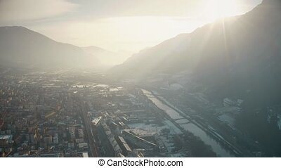 Aerial view of Trento and the Adige river, Italy - Aerial...