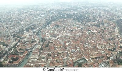 Aerial view of Treviso and the River Sile, Italy