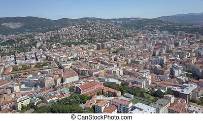 Aerial view of Trieste in summer, Italy
