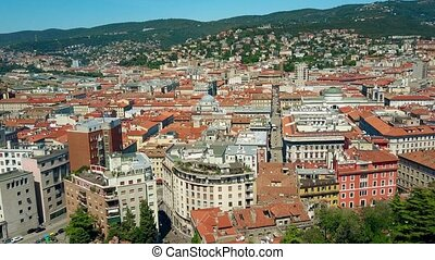 Aerial view of Trieste rooftops, Italy