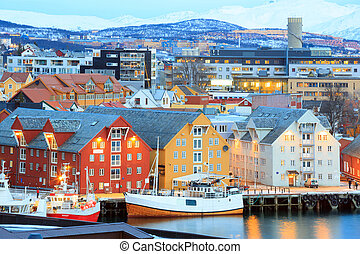 Tromso Cityscape - Aerial view of Tromso Cityscape at dusk ...
