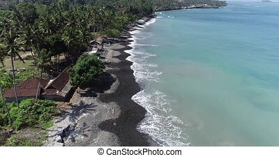 Aerial view of tropical beach on the island of Bali