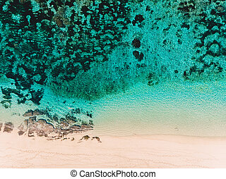 Aerial view of tropical beach with turquoise ocean water