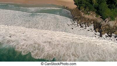 Aerial view of tropical island beach and seashore