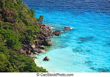 Aerial view of tropical island, Similan, Thailand