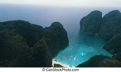 Aerial view of tropical paradise - Aerial drone view of...