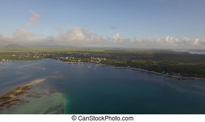 Aerial view of tropical resort and island panorama, Mauritius