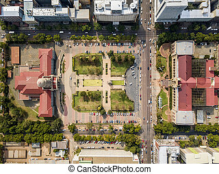 Aerial view of Tshwane city hall and Ditsong National Museum of Natural History in the heart of Pretoria, South Africa