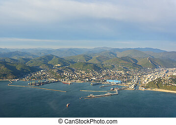 Aerial view of Tuapse city, Russia