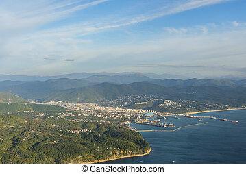 Aerial view of Tuapse city
