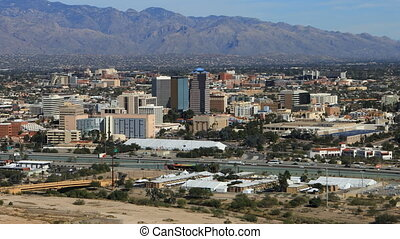 Aerial view of Tucson, Arizona - An aerial view of Tucson,...