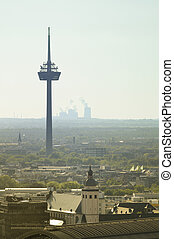 Aerial view of TV Turn and Oil Industry Factory smoke stacks...