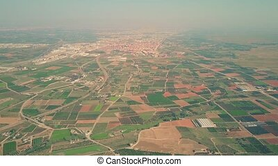 Aerial view of typical fields and orchards scenery in Spain...