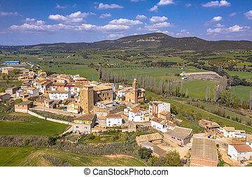 Aerial view of Typical spanish village