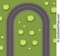 Aerial view of u-turn road illustration