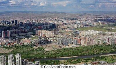 Aerial view of Ulaanbaatar city and Memorial on Zaisan Tolgoi, Mongolia, 4k