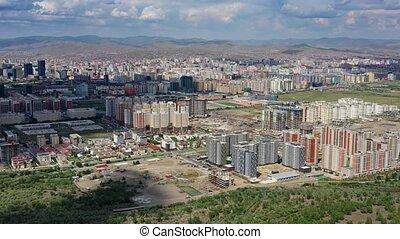 Aerial view of Ulaanbaatar city, capital of Mongolia, 4k