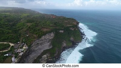 Aerial view of Uluwatu cliffs in Bali - Aerial drone view of...