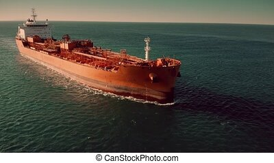 Aerial view of unknown oil tanker at sea - Aerial view of...
