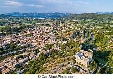 Aerial view of Vaison-la-Romaine with its castle. Provence, France