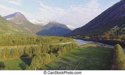Aerial view of valley in Jostedalsbreen national park in...