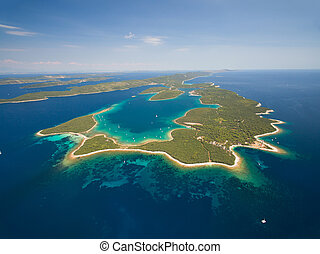 Aerial view of Veli Rat on the Adriatic island Dugi Otok, Croatia