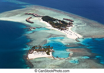 Veligandu Island, Alifu Atoll, Maldives - Aerial view of ...