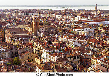 Aerial View of Venice on a Sunny Spring Day