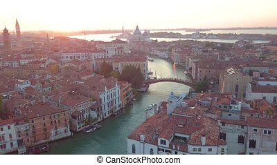 Aerial view of Venice. Scenic video taken at sunrise.