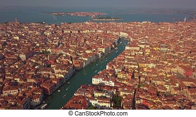 Aerial view of Venice, St Mark's square. Scenic video taken at sunrise. San Marco square in Venice, Italy it's the principal public square of Venice, where it is generally known just as the Piazza.