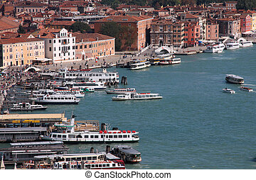 Venice - Aerial view of Venice waterfront. All sorts of...