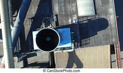 Aerial view of ventilation system on a roof of a plant