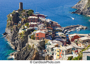 Aerial view of Vernazza in Cinque Terre, Italy