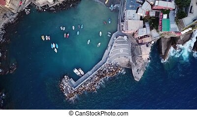 Aerial view of Vernazza in Cinque Terre Italy Europe