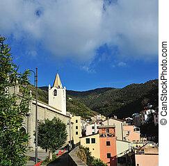 Aerial view of Vernazza - small italian town in the province of La Spezia, Liguria, northwestern Italy.