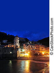 Aerial view of Vernazza - small italian town in the province of La Spezia, Liguria, northwestern Italy. dusk