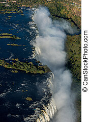 Aerial view of Victoria Falls and spray