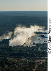 Aerial view of Victoria Falls from helicopter