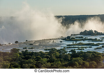 Aerial view of Victoria Falls spray clouds