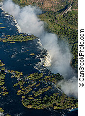 Aerial view of Victoria Falls with bridge