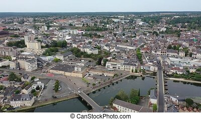 Aerial view of Vierzon town in Cher department, central ...